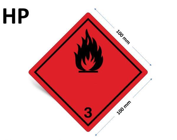 1000 Stück Gefahrgut-Kennzeichnung Klasse 3, ohne Text