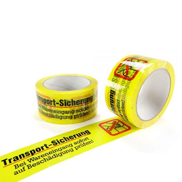 "6 Stück: PP- Klebeband gelb ""Transport-Sicherung"""