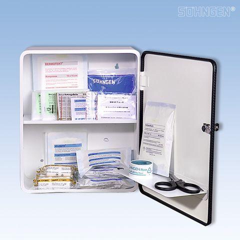 Erste-Hilfe-Schrank HEIDELBERG, gefüllt, Inhalt: DIN 13157
