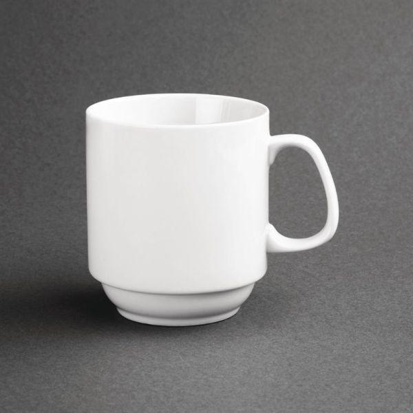 Olympia Whiteware stapelbare Becher 28,4cl; Inhalt: 12 Stück