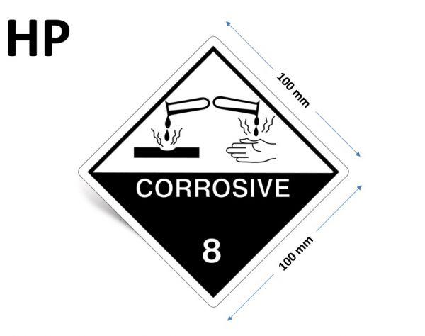 1000 Stück Gefahrgut-Kennzeichnung Klasse 8, mit Text: CORROSIVE