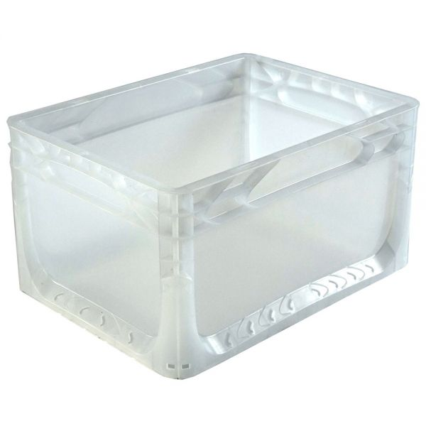 400x300x220 mm Euronorm Behälter transparent geschlossen, Handgriffe geschlossen