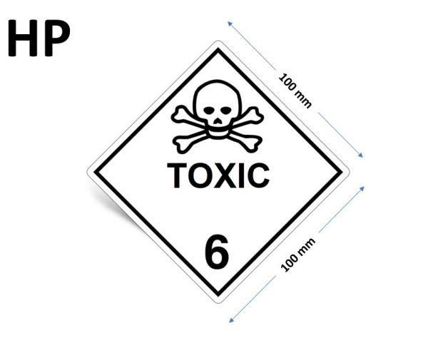1000 Stück Gefahrgut-Kennzeichnung Klasse 6.1, mit Text: TOXIC