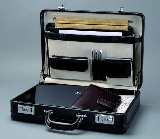 Aktenkoffer TAORMINA, Zahlenschloss, Leder, 45x11x32,5cm, sw
