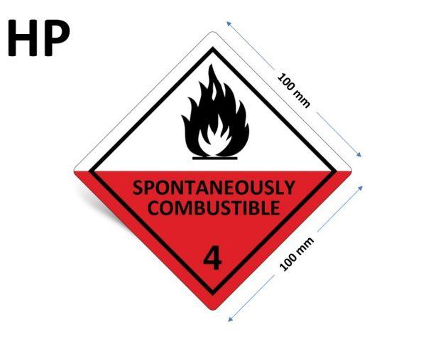 1000 Stück Gefahrgut-Kennzeichnung Klasse 4.2, mit Text: SPONTANEOUSLY COMBUSTIBLE
