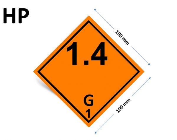 1000 Stück Gefahrgut-Kennzeichnung Klasse 1 - 1.4, Verträglichkeitsgruppe G