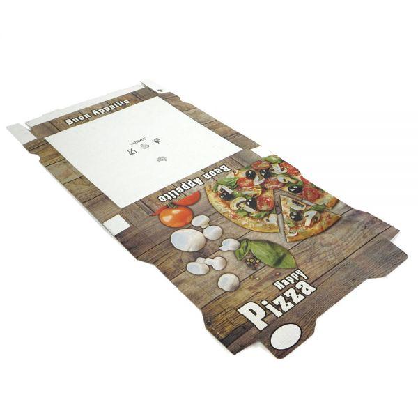 "50 Stück: 410x410x40 mm Pizzakarton extra hoch ""Piccante"""