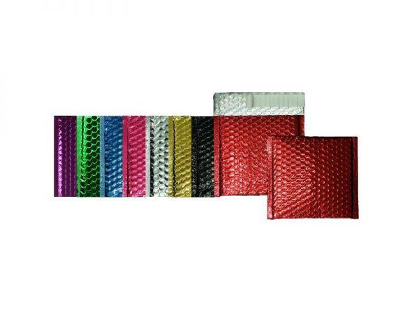 100 farbige Luftpolster-Versandtaschen 160x160 mm, glänzend