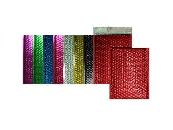 100 farbige Luftpolster-Versandtaschen 220x315 mm, glänzend