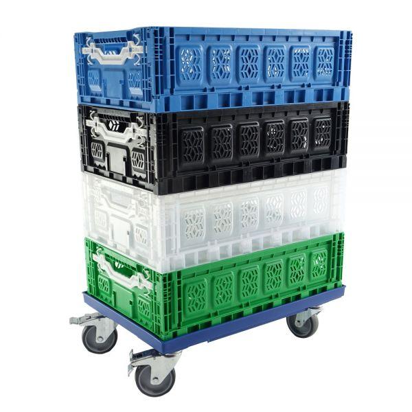 Rollenwagen für Euronorm Behälter 600x400 mm, transparent, mit Bremse