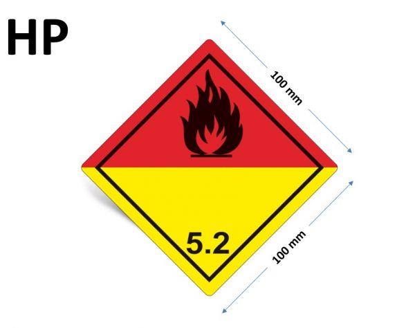 1000 Stück Gefahrgut-Kennzeichnung Klasse 5.2, ohne Text