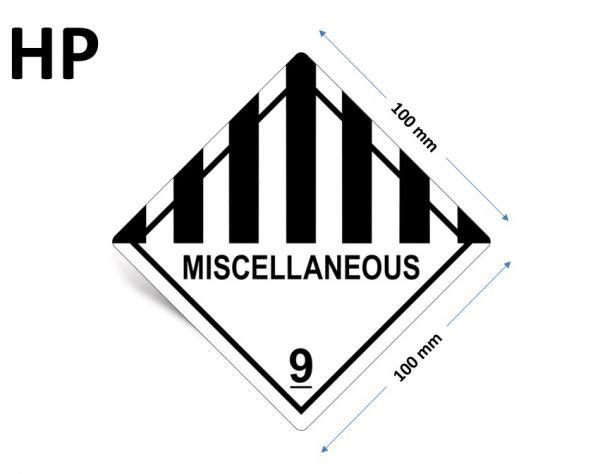 1000 Stück Gefahrgut-Kennzeichnung Klasse 9, mit Text: MISCELLANEOUS