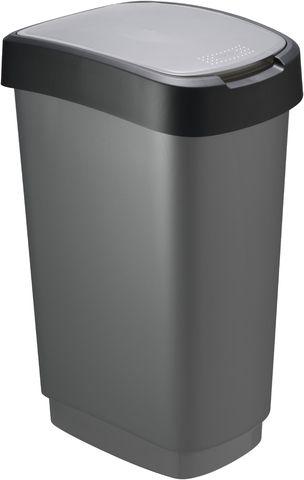 Abfalleimer TWIST, PP, 50 l, 401x298x602mm, schwarz/anthrazit