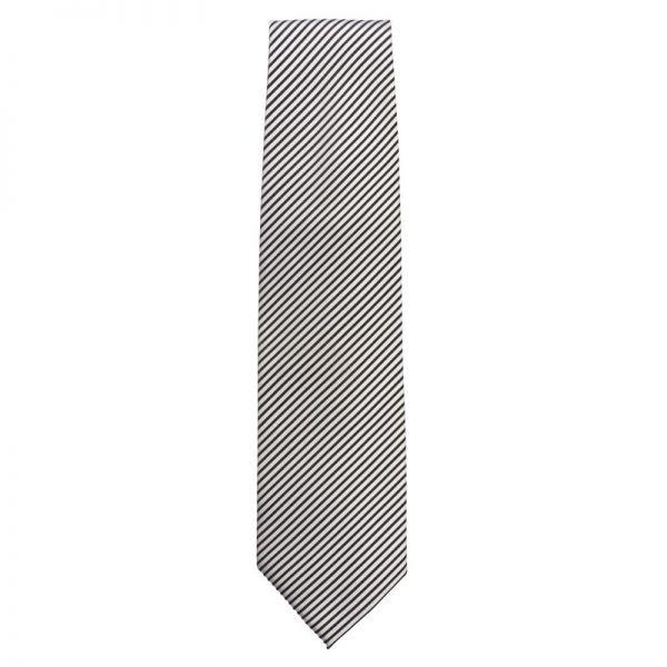 Uniform Works Krawatte silber schwarz gestreift