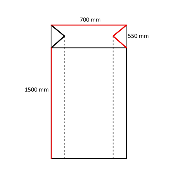 80 LDPE Seitenfaltensäcke 700+550 x 1500 mm, 60 my